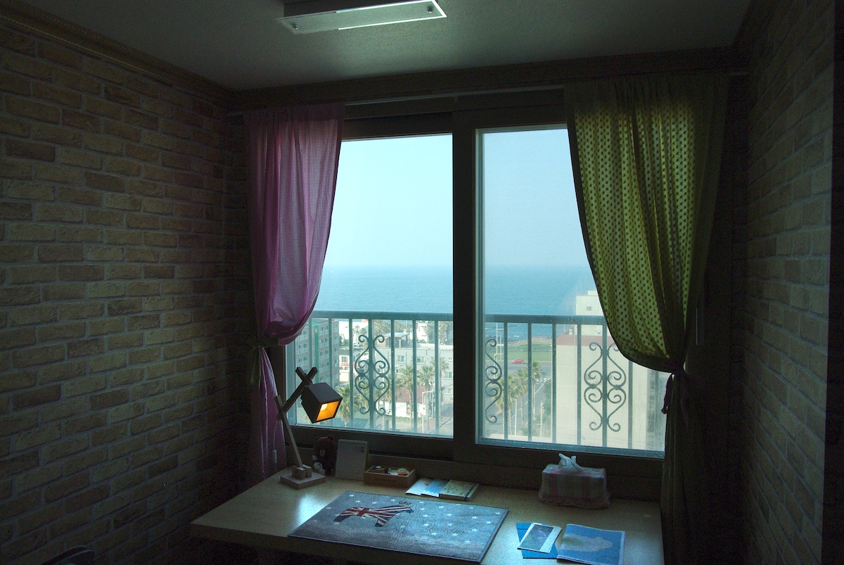 ocean view out of window