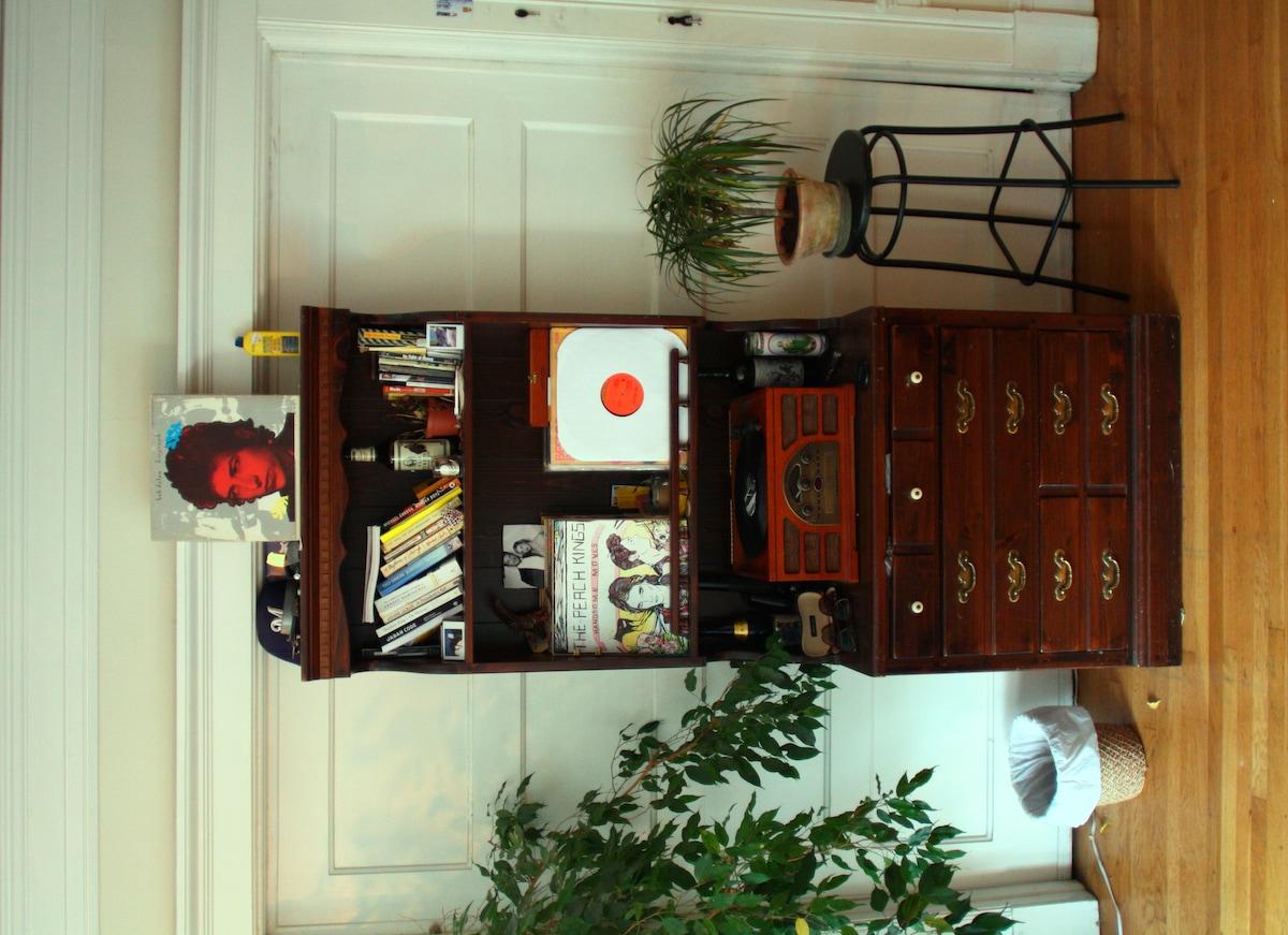 record player (Dylan, Miles Davis, Beatles, Rolling Stones, Talking Heads, Michael  Jackson)