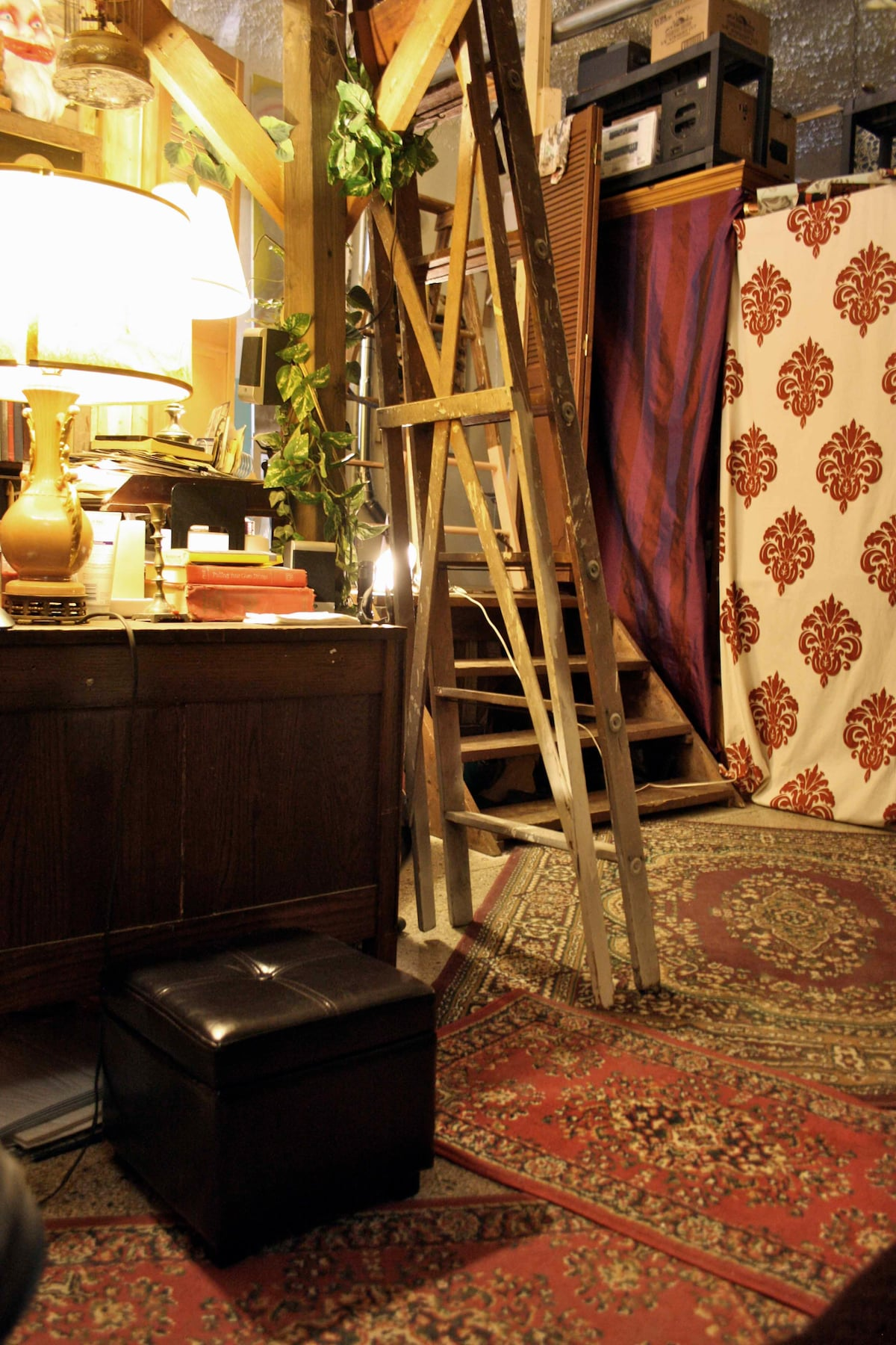 ladder to the lofted queen size bed