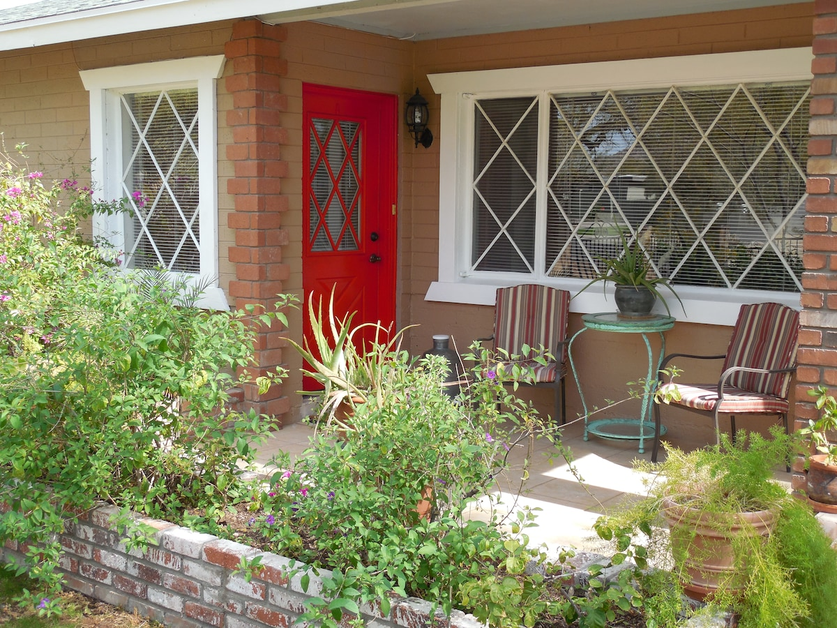 Front patio/entrance with the RED door!
