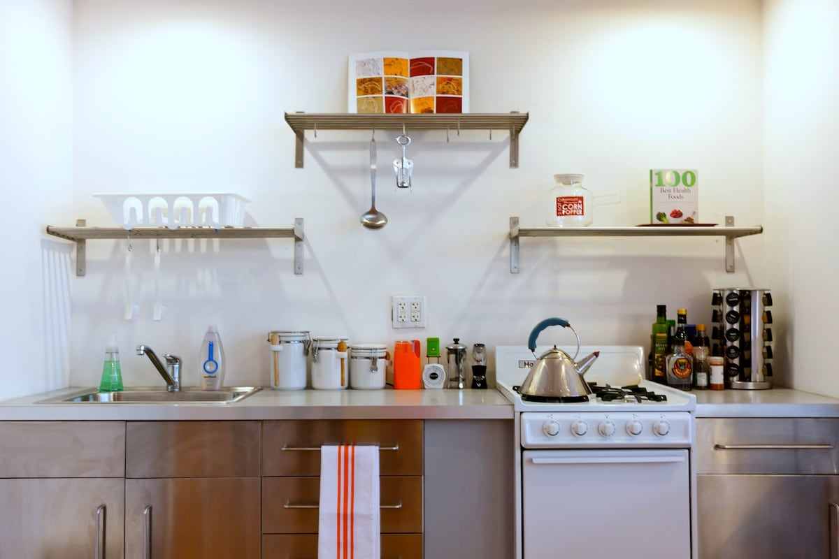 Coffee, tea and juice in the mornings. We always keep this area stocked and clean, ready for your use.