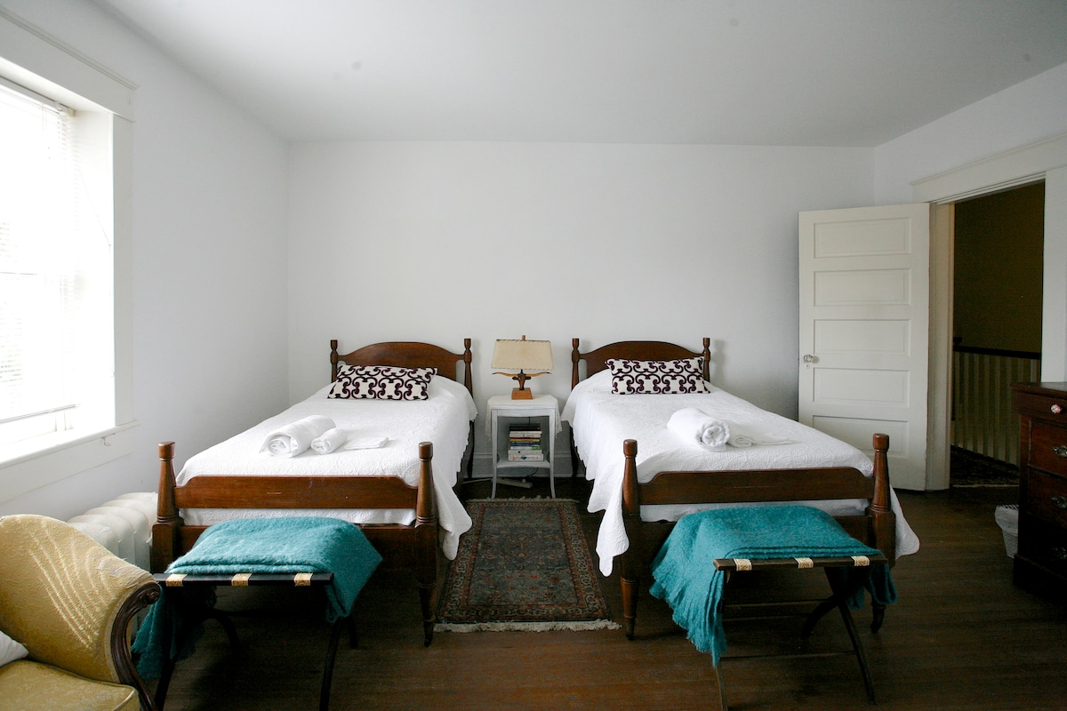 Two twin beds, airy spacious guest room