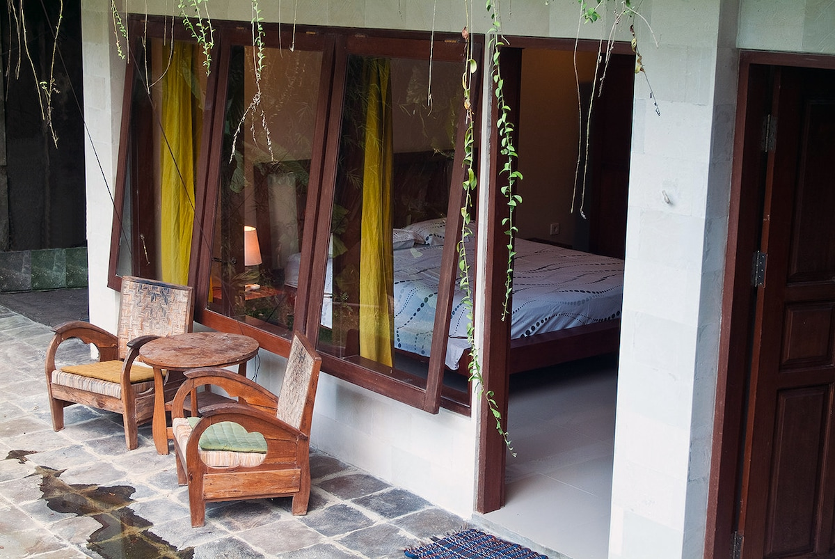 The bedroom and terrace.
