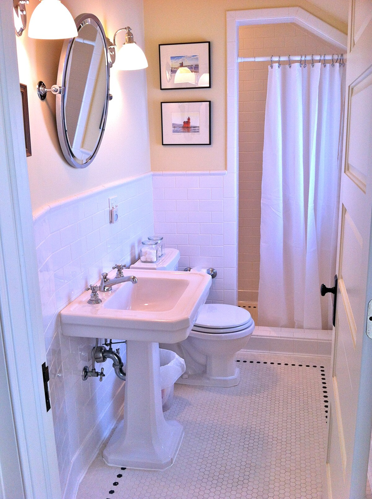 Full bath with tiled shower. Features in-floor heat.