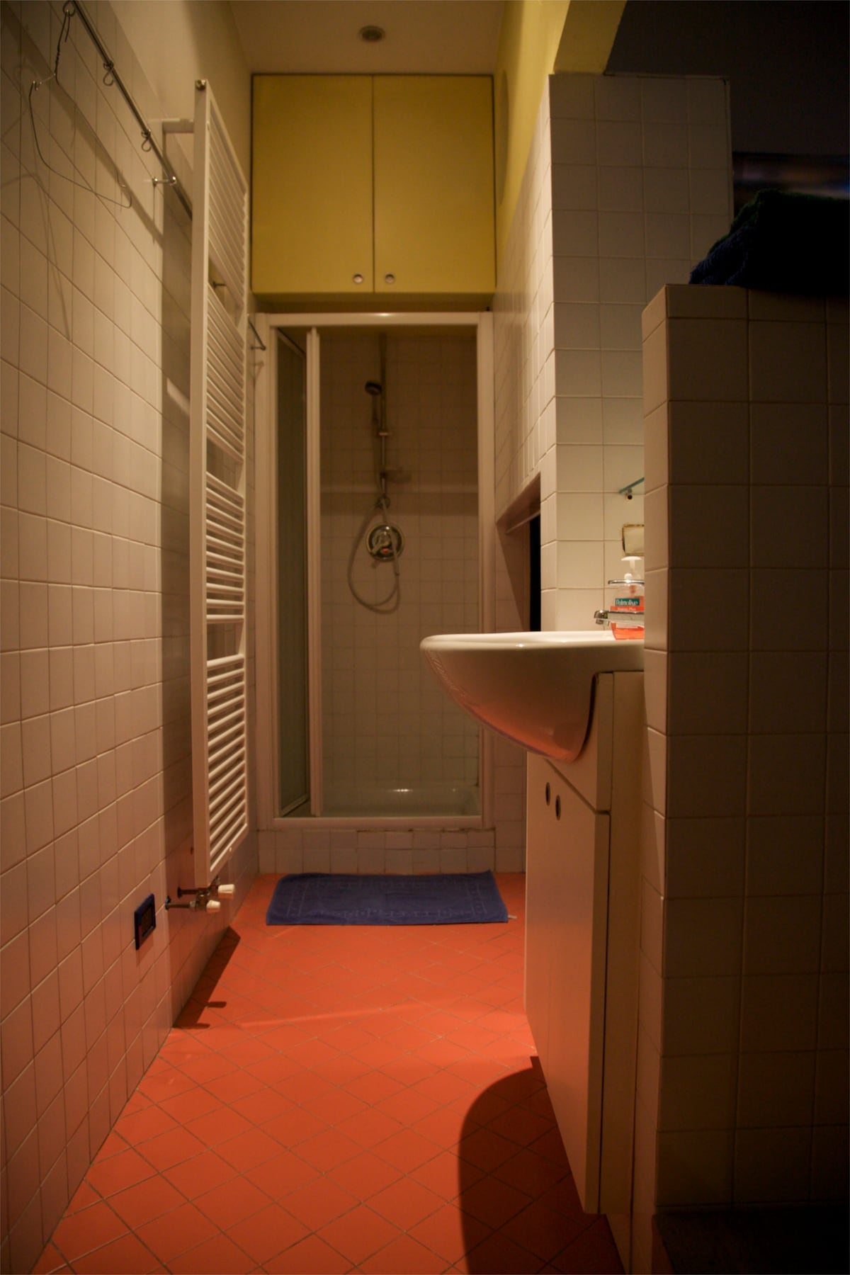 lavatory, wardrobe, shower. On right, chairs to the mezanin bed.