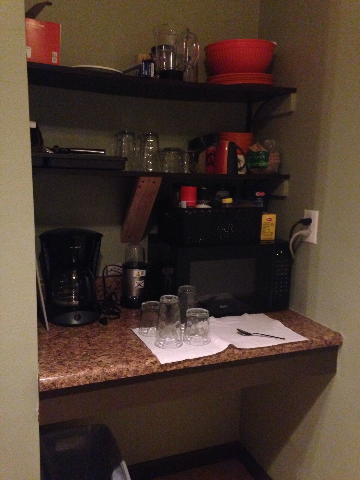 Nook in kitchenette. This is where the microwave, bowls, plates, cups, etc are located.