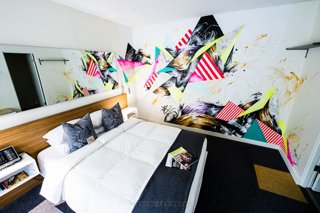 All of our rooms feature custom, hand-painted or photorealistic murals. This one was painted by Vancouver BC based artist, Taka Sudo.