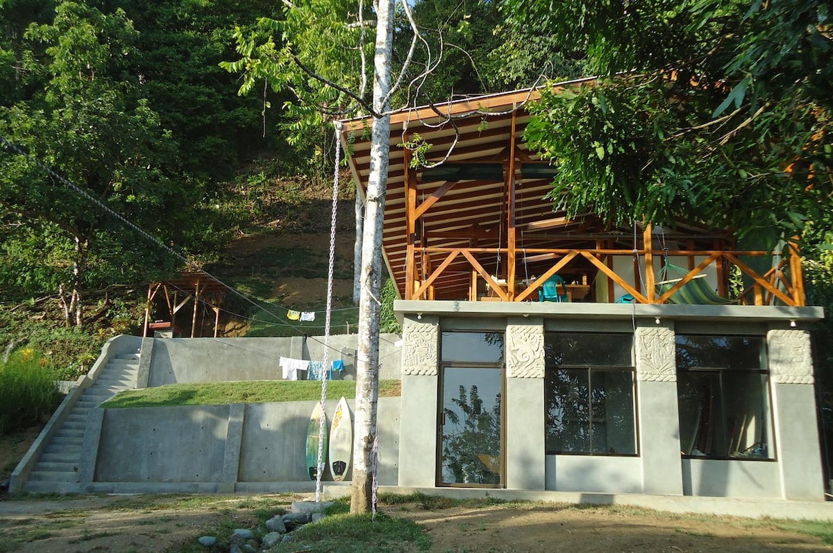 Upper level house with large deck