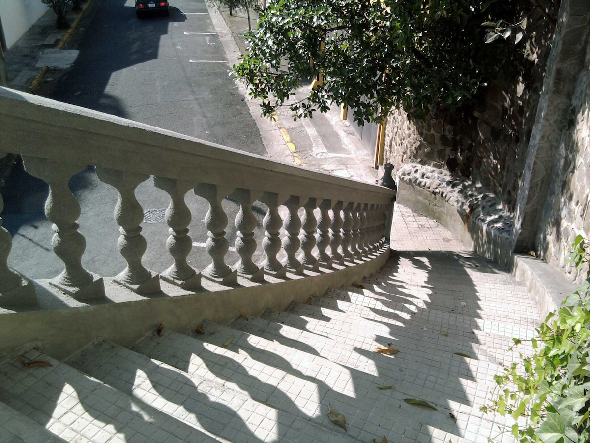 Stairs towards the street