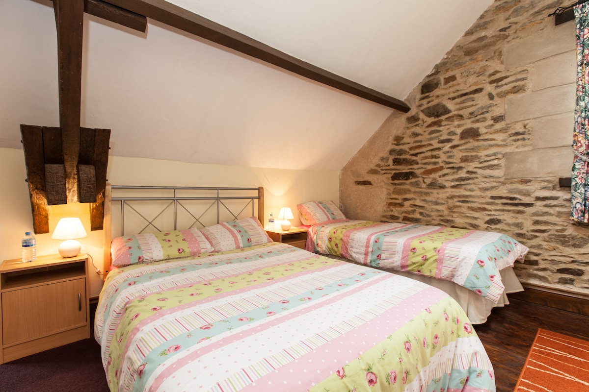 Double and single bed, a small bed can also be added if required.
