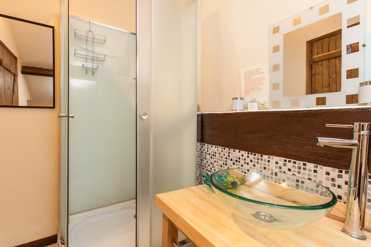 Bathroom with power shower.