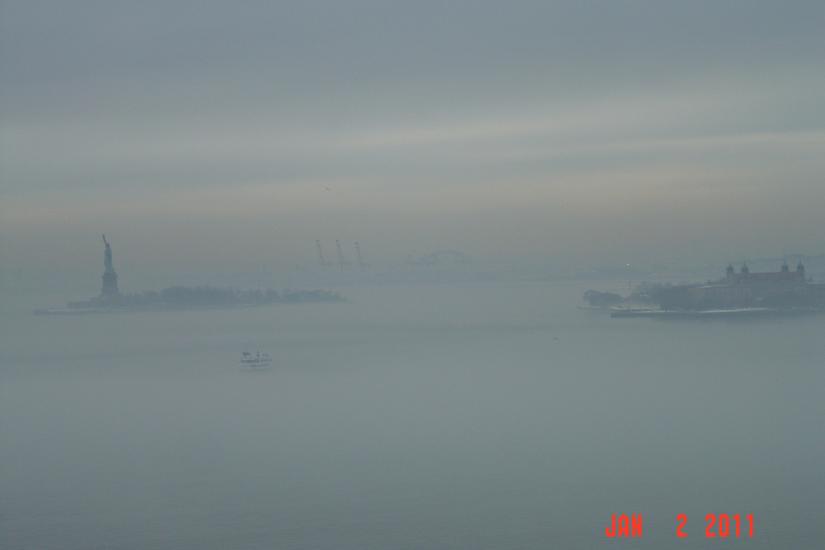View from terrace - Statue of Liberty on a foggy day
