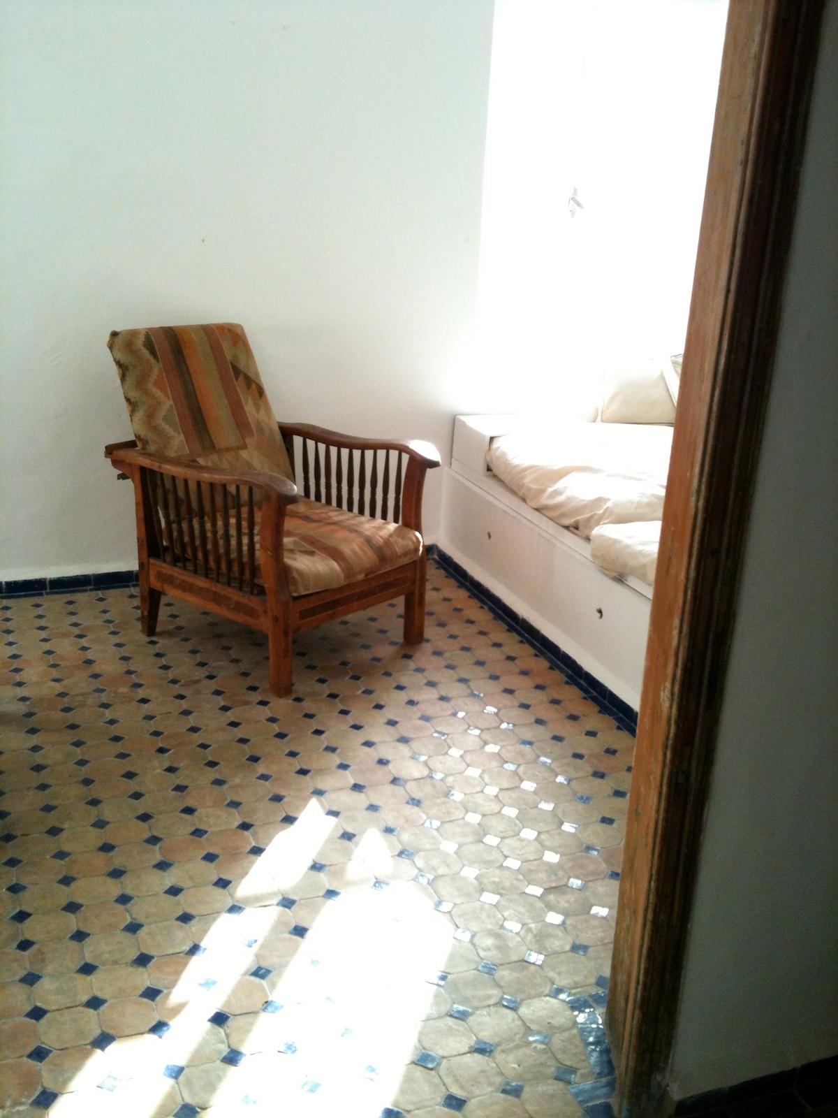 Vintage thuya chair in living room