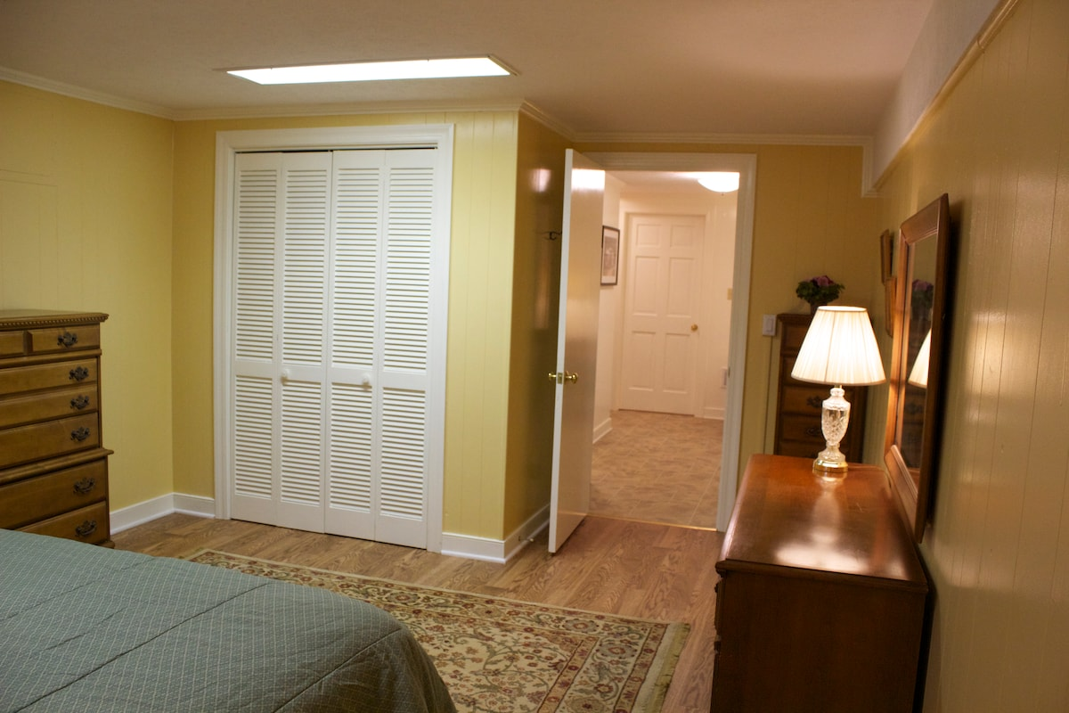 Large closet and plenty of drawer space.  Iron and ironing board in closet, along with extra pillows & blankets.