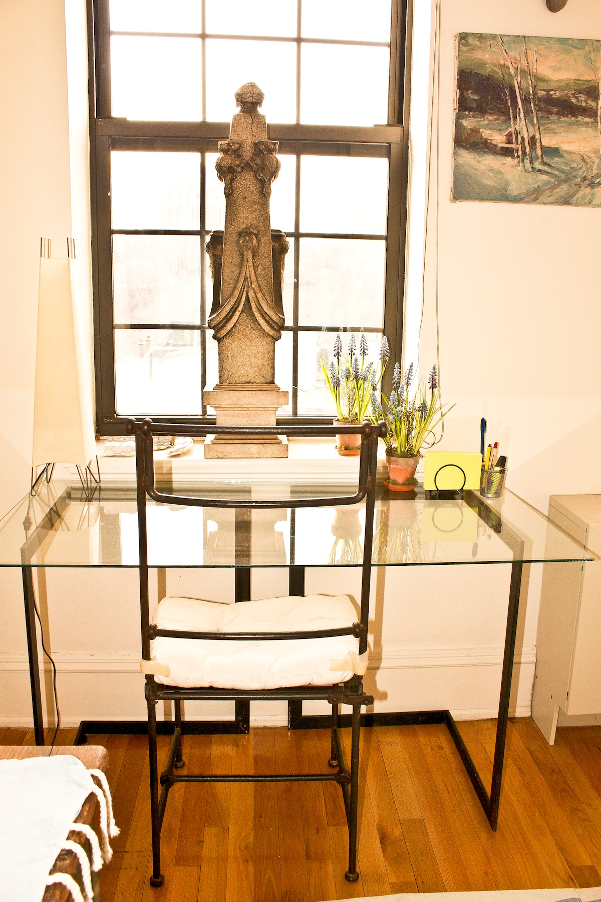 A workstation with a view of Morningside Park!