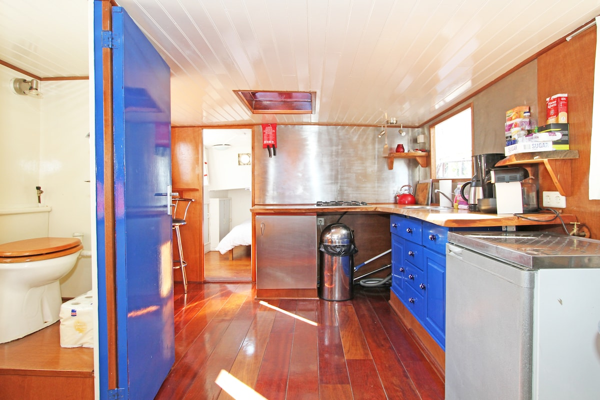 kitchen area in the front of the boat