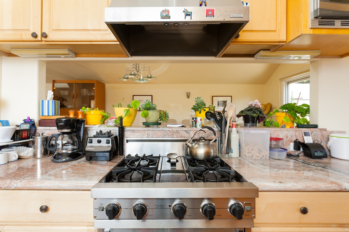 galley kitchen, granite countertops, stainless-steel appliances and Viking gas range