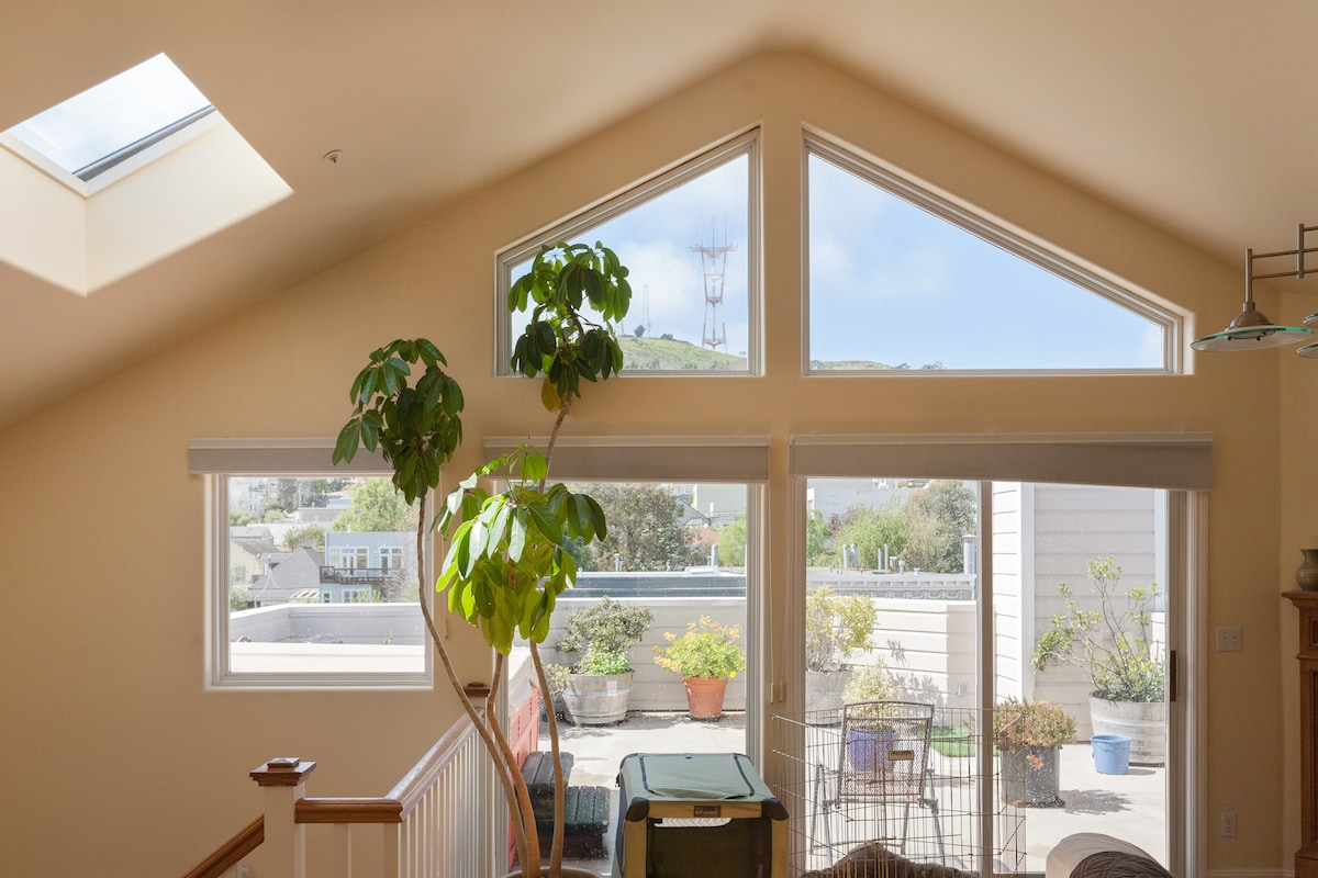 vaulted ceiling and panorama from the living room