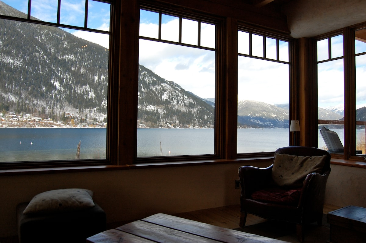 Living room looking north, up the lake.