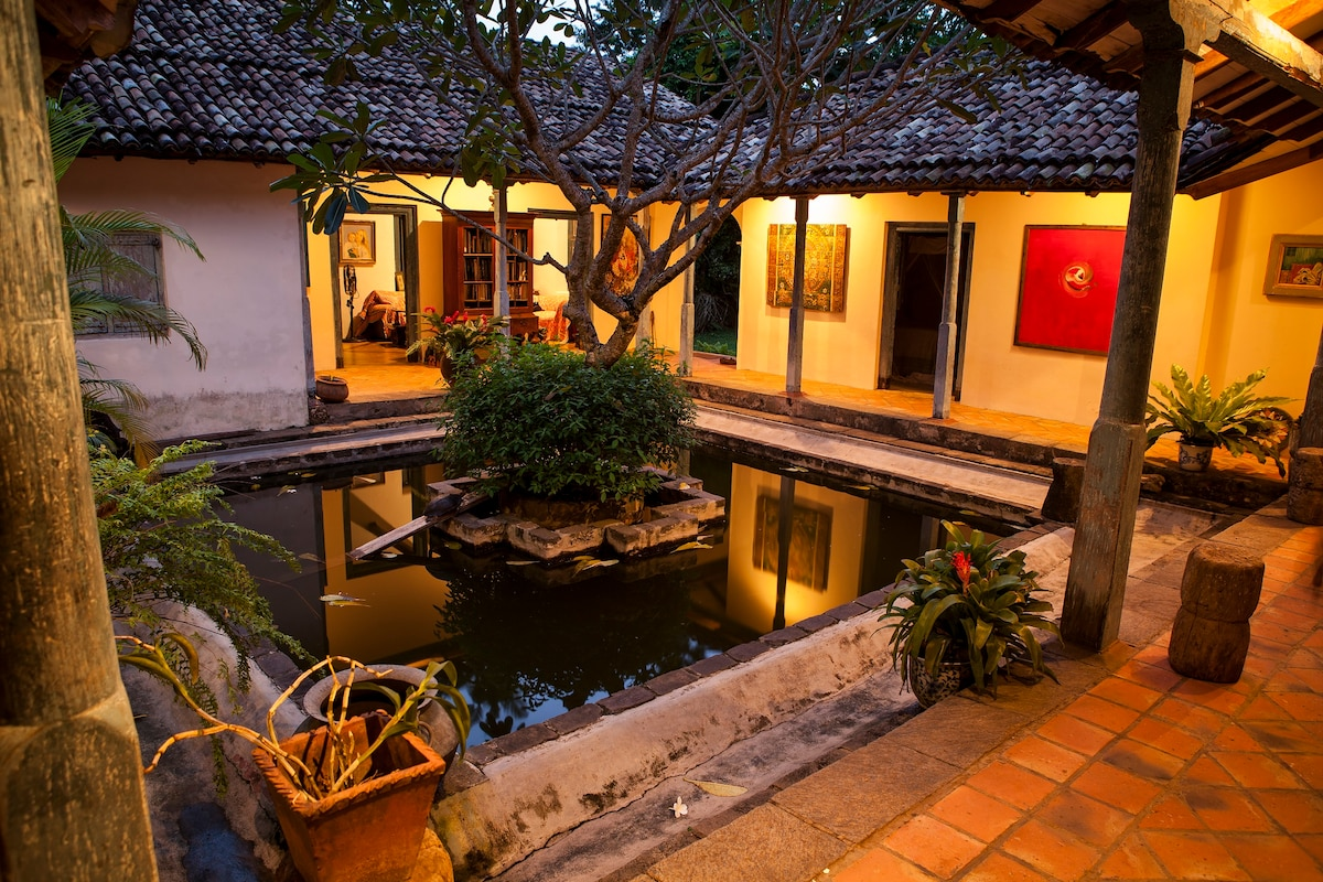 Looking over the courtyard pond in the evening.
