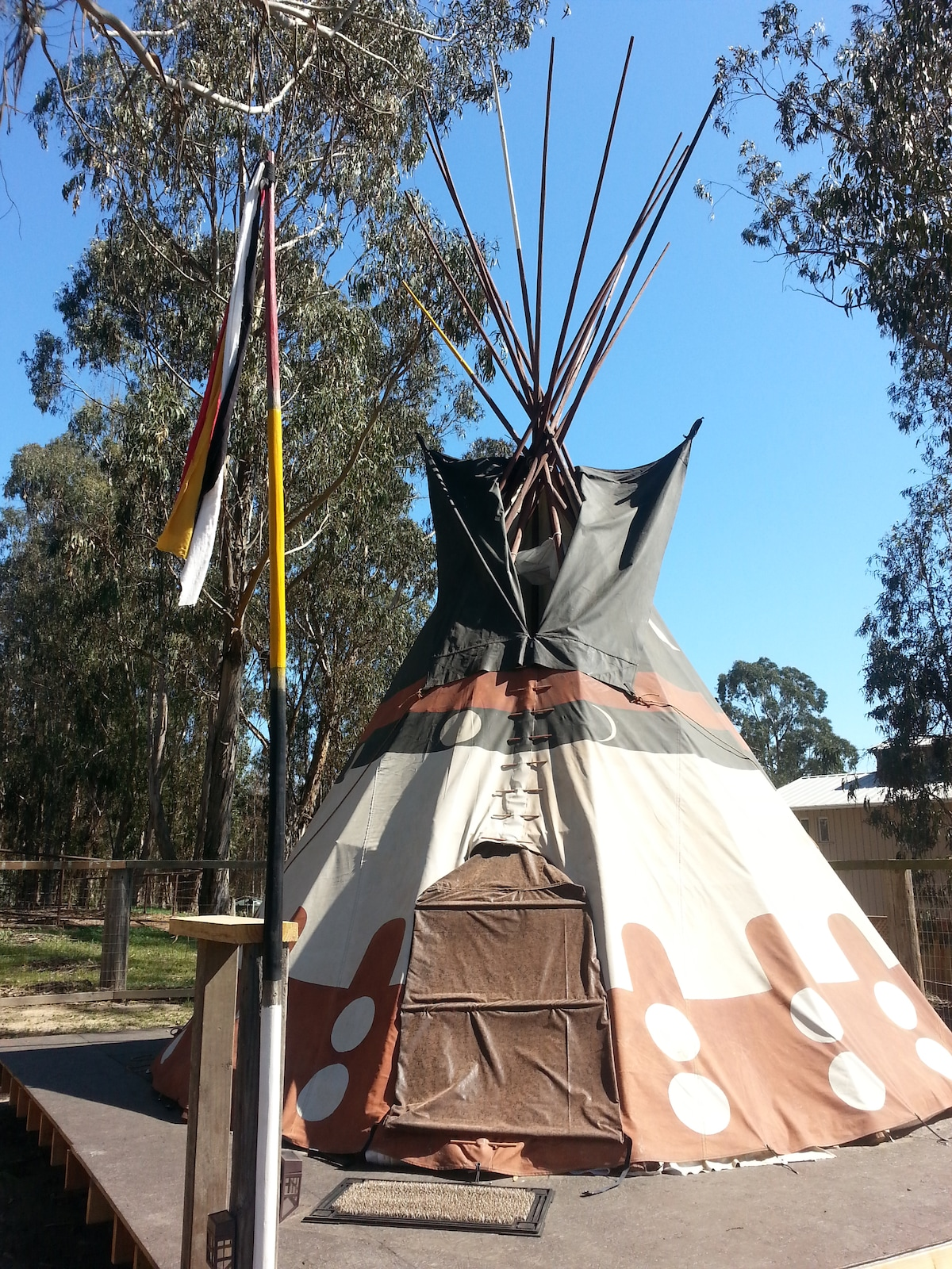 Authentic Native American Tipi on raised deck