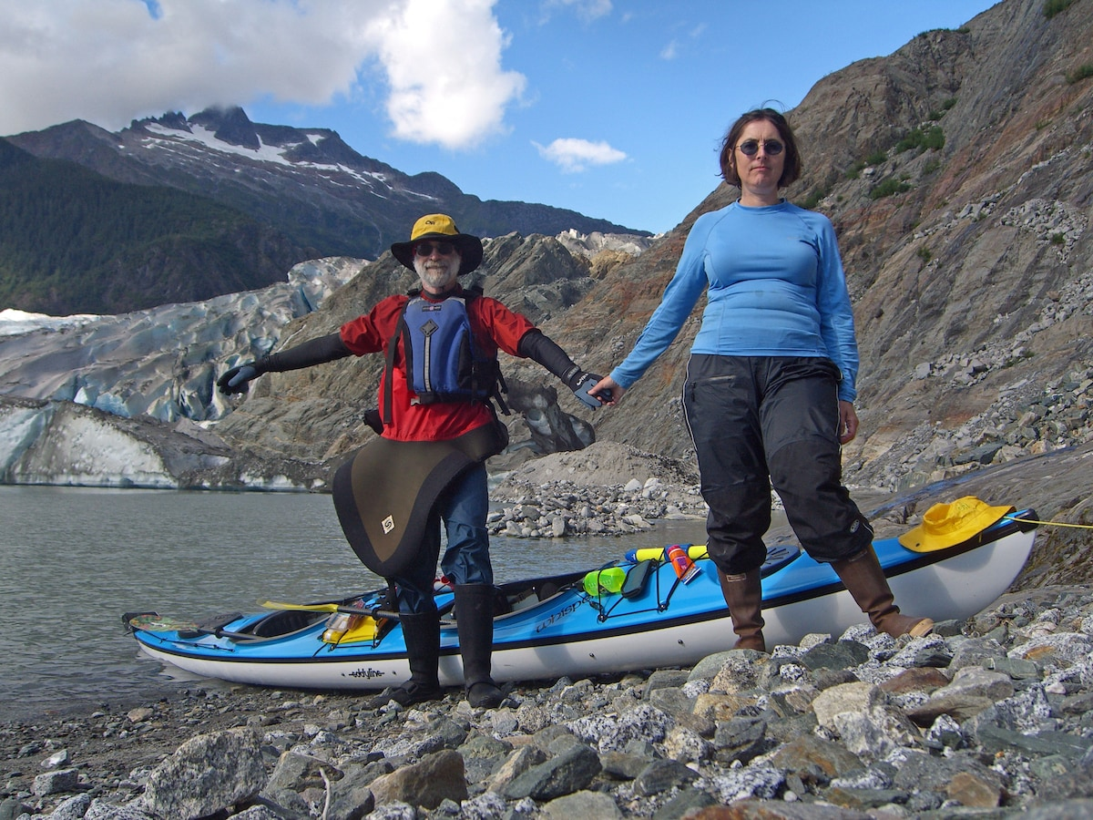 Us on our 25th wedding anniversary kayaking on Mendenhall Lake