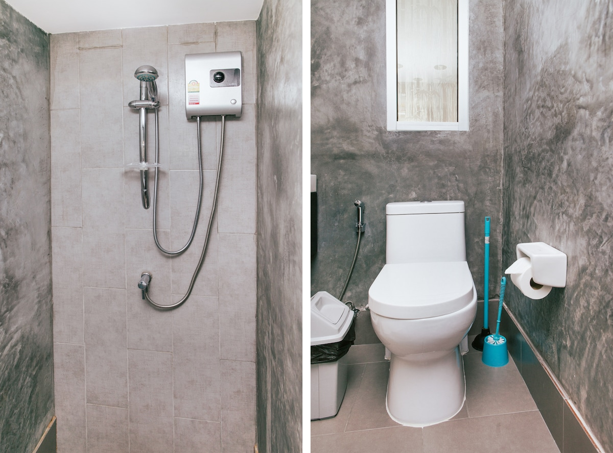 Western style bathroom with hot water shower.