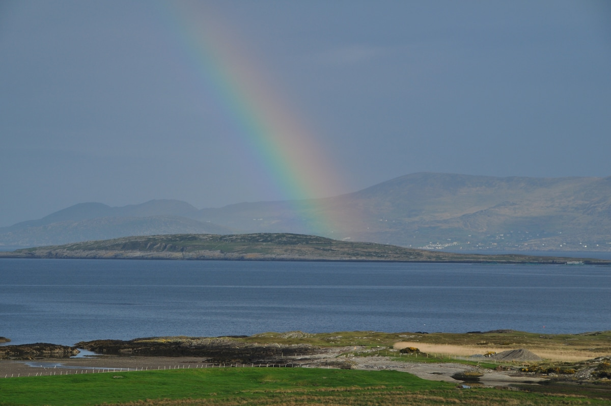 View from Cappa House of Inisfernard Island in Coulagh Bay, Beara Peninsula