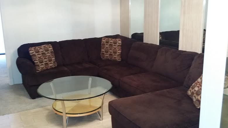 Chocolate colored L shape couch