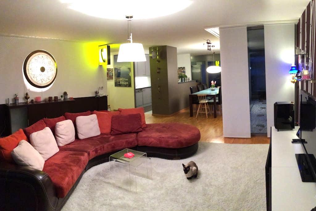 Chambre lit 180x200-grand appart. - Nyon - Apartment