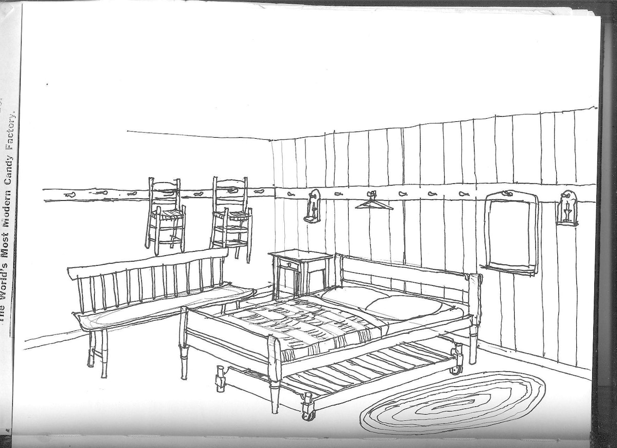 my rendering of the room with furniture completed