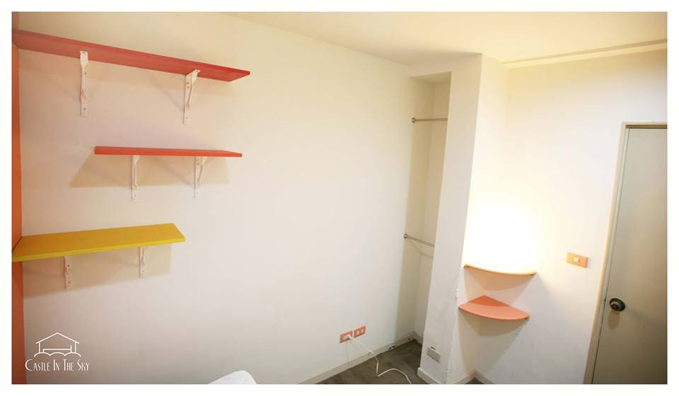 Your room: Desk, chair, lamp, shelves, and space to suspend clothes. There is also a wardrobe (lock with keys) available for you in another part of the flat.