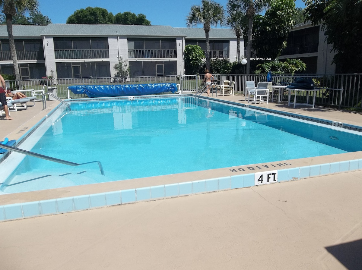 two heated pools only steps away