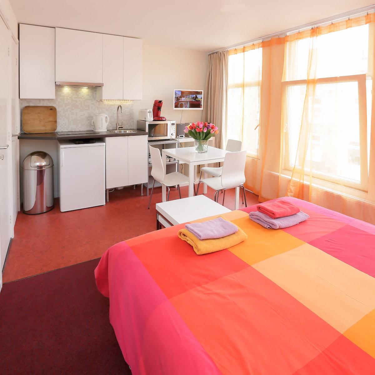 Private studio (1), private facilities. Bed: boxspring + matress 1.60 x 2.00
