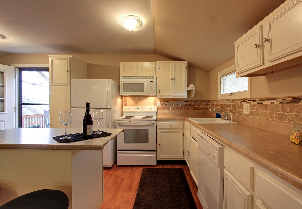 Plenty of counter space for food prep.  Washer and dryer located just left of the door.