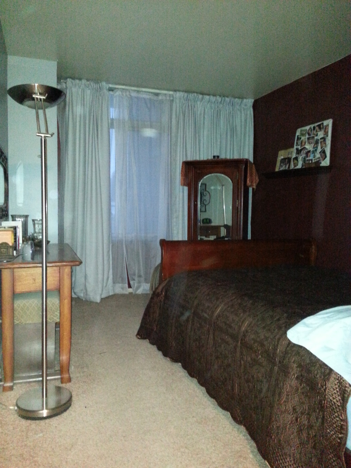 Comfortable full bed with full drapes to block light...