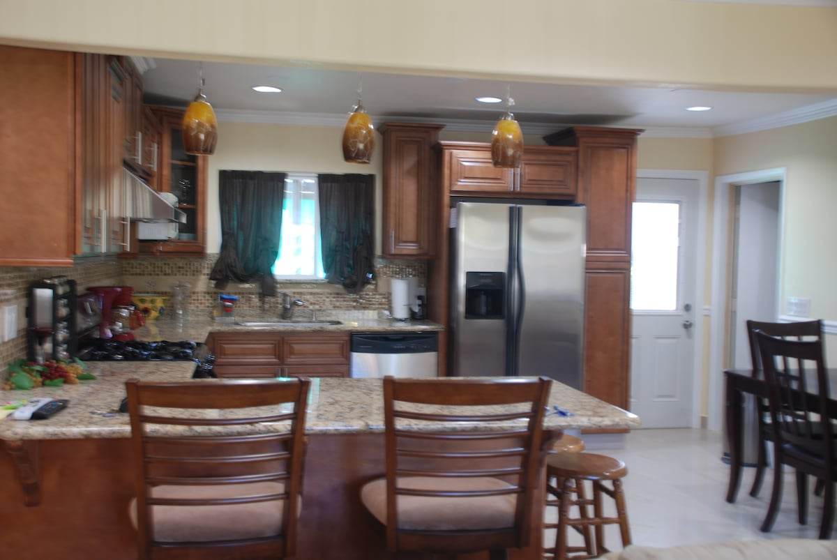 Spacious kitchen area with a