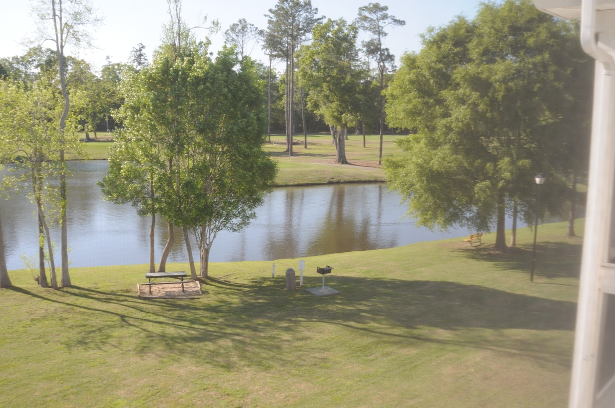 view of lake and golf course from the patio.