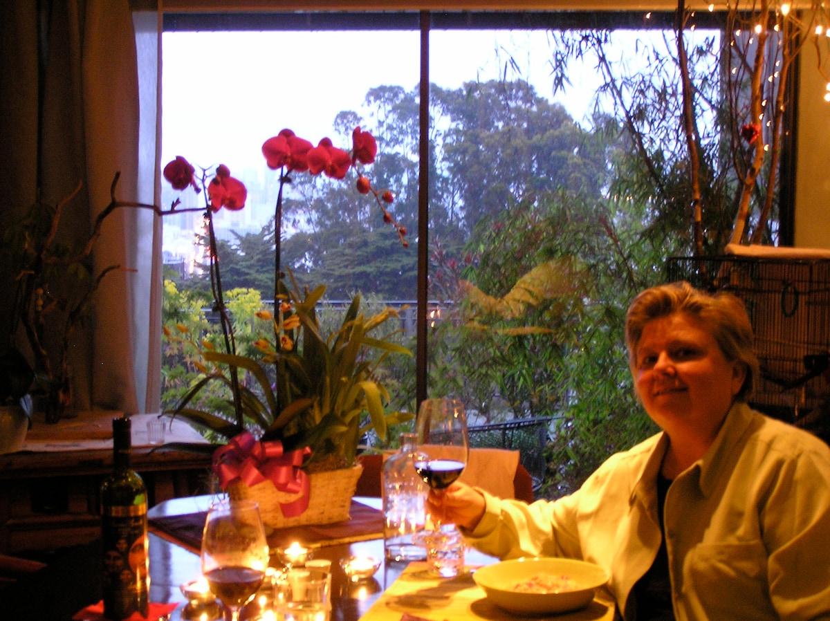 Melinda in the dining room