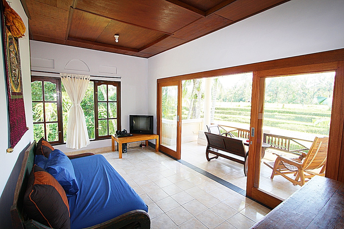 Living room with newly renovated sliding doors to maximize the view from inside.