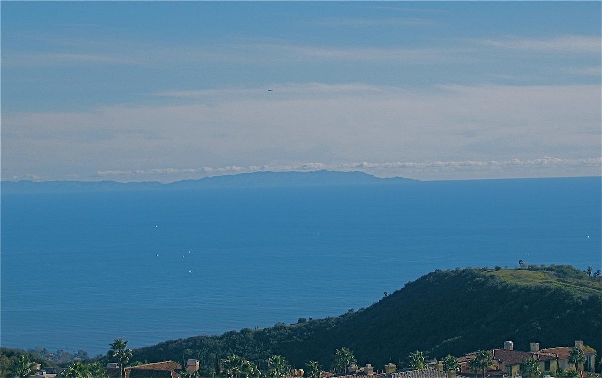 Backyard view of Catalina Island, sailboats and the Pacific ocean