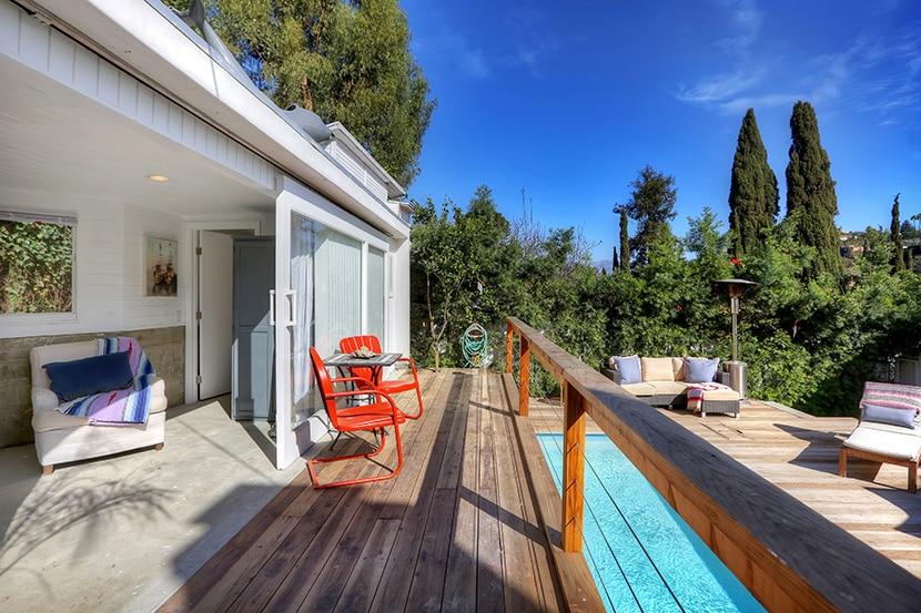 Sun-bathed deck.