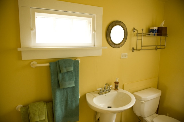 Bathroom with shower. All linens, shampoo, conditioner, hair dryer, and first aid kit included.