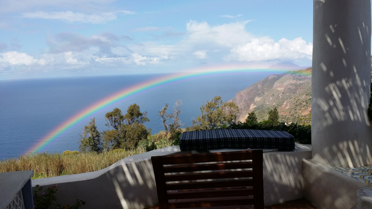 view with rainbow