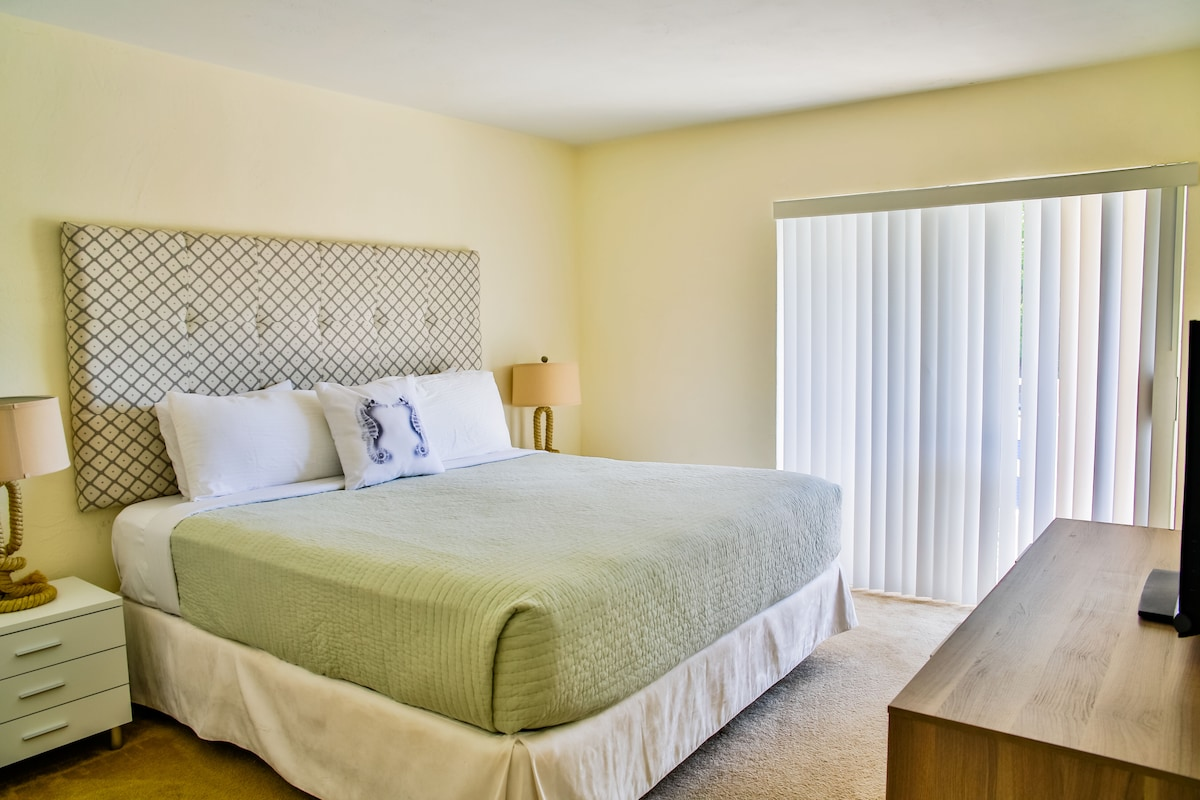 Master bedroom with a King bed and private bathroom