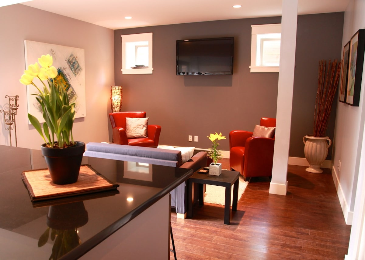 """modern, open concept with 47 """" LCD tv"""