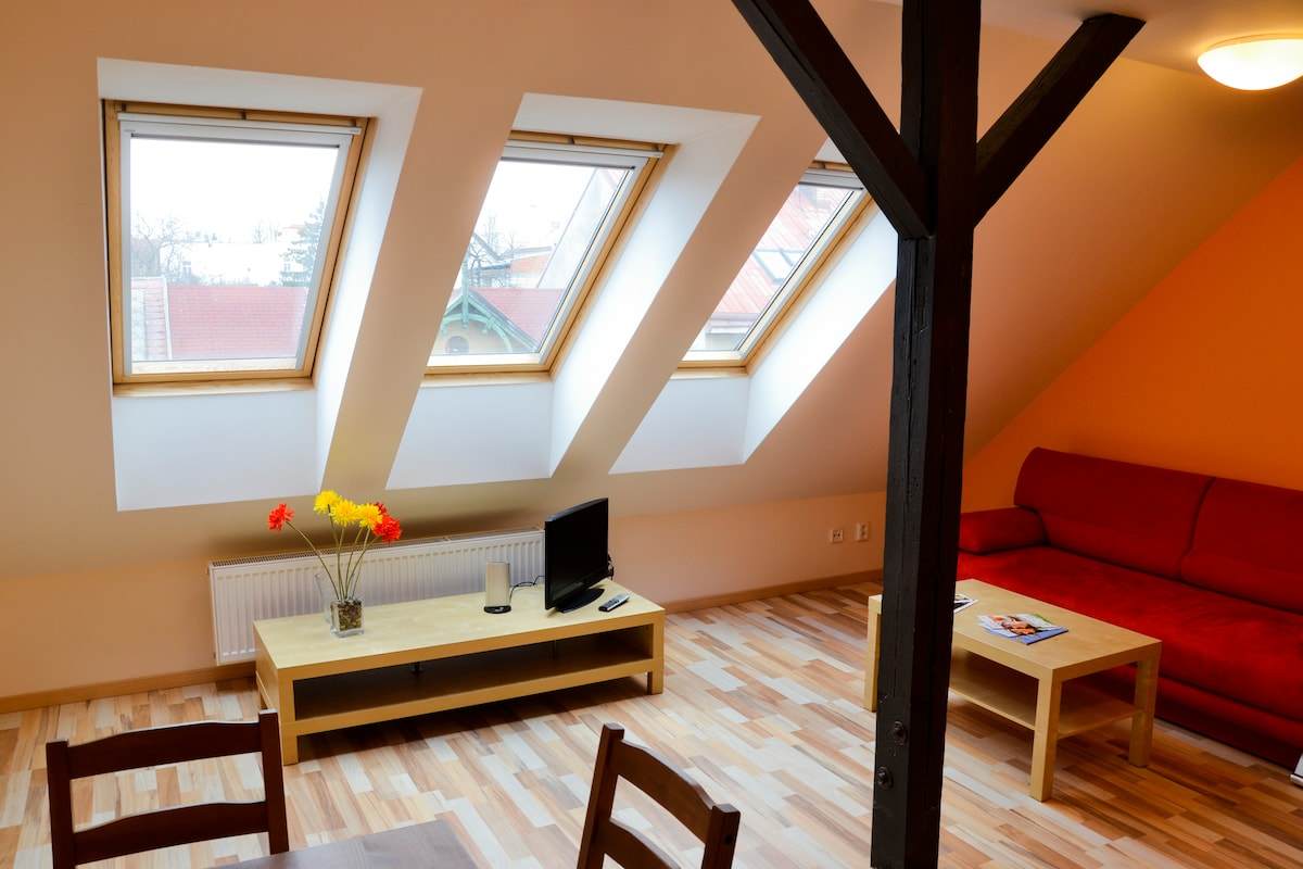Living room with the attic windows
