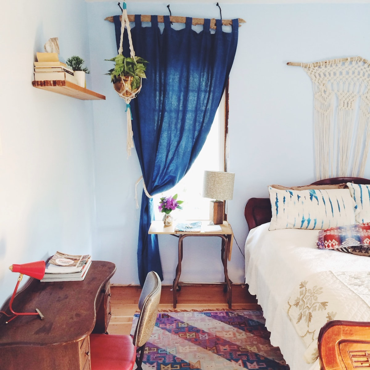 Your home away from home! We have added lots of special details to the room. Macramé made by Emily, textiles dyed by Adam. Pendleton towels. Also you get a gift of a topographical map tea towel as a thank you for choosing us.