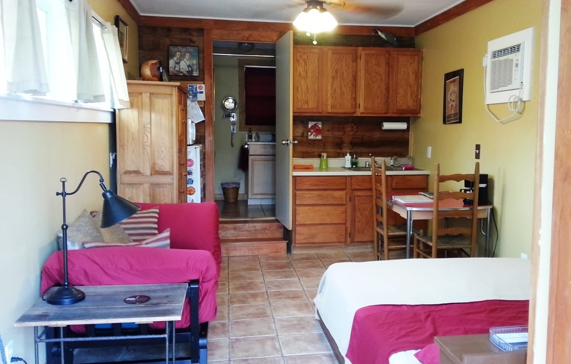 View from the door shows the layout. Our guests tell us the space feels roomier than the photos suggest.