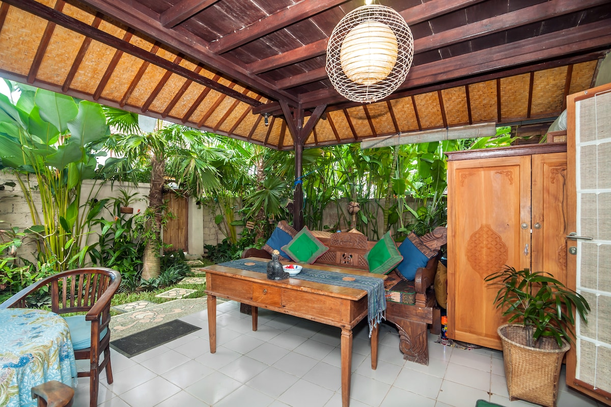 outdoor living space with Balinese benchs
